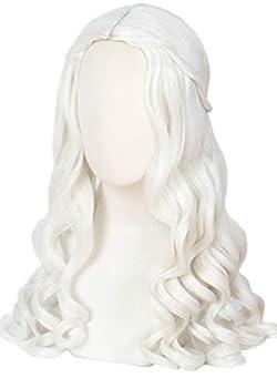 Linfairy Women Girl s White Blonde Long Wavy Wig Halloween Cosplay Costume Queen Wig Adult