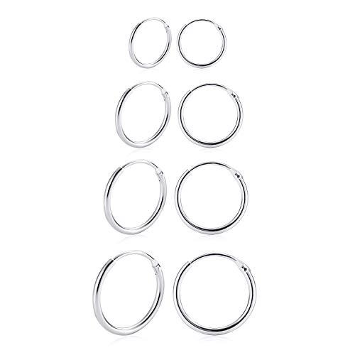 4 pares de pendientes de aro pequeños para niñas, de plata de ley 925, para mujeres, hombres y mujeres, hélix, tragus, cartílago, grosor de 1,2 mm, diámetro de 8,10, 12,14 mm