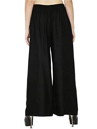 Kuruppath Group Women's Rayon Pant Palazzo Combo (Black, Free Size)