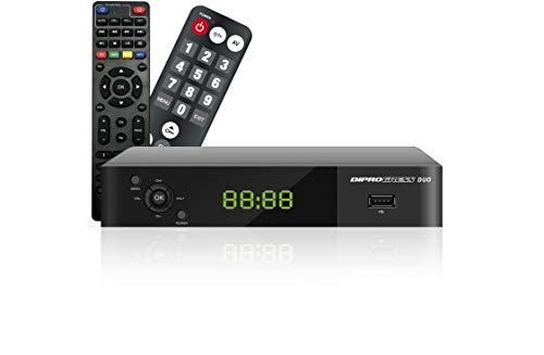 DIPROGRESS decoder DVB-T2 Hevc 10 bit DPT207HD con due telecomandi 2 in 1, nero