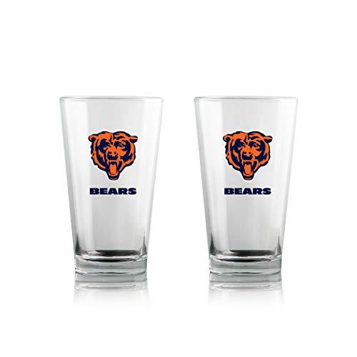 Duck House NFL Chicago Bears Clear Highball Pint Glasses | Premium Glassware | Lead-Free | BPA-Free | 16oz | Set of 2