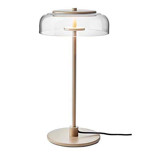 Mijogo Moderne tafellamp met glazen bol, gouden bureaulamp bedlampje met geborsteld messing afwerking voor de woonkamer of kantoor