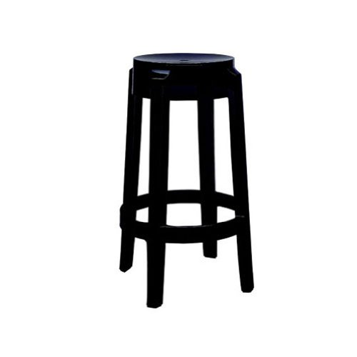 Kartell 4898E6 kruk Charles Ghost 65 cm hoog zwart glanzend
