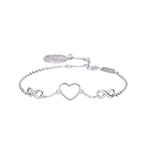 Siskey Women's Charm Bracelet,Sterling Silver Bracelet Zirconia Adjustable Bracelet S925 Shiny Diamond Silver Bracelet for Women Wife Mom Friend Birthday or Anniversary Present-(Silver)