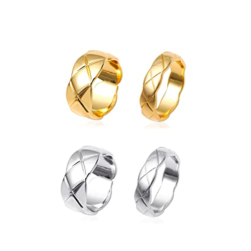 Lucky Meet Juego de 4 anillos apilables simples para mujer, para parejas, multifacetados, corte prisma de titanio, alianzas de boda para hombres y mujeres, juego de anillos de oro y plata