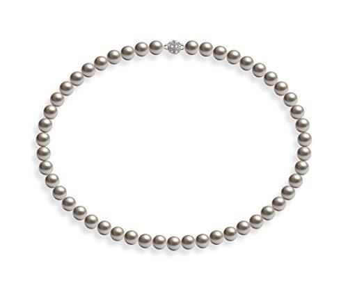 Schmuckwilli Damen Muschelkernperlen Perlenkette Silber Magnetverschluß echte Muschel 45cm dmk0010-45 (8mm)