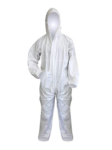 FETEC | Einweg-Schutzanzug [Typ 5 + 6] weiß aus PP/PE | 2-lagig | staubdicht, partikeldich und begrenzt sprühdicht | Premium (XXL)