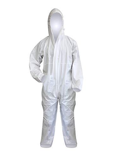 FETEC | Einweg-Schutzanzug [Typ 5 + 6] weiß aus PP/PE | 2-lagig | staubdicht, partikeldich und begrenzt sprühdicht | Premium (L)