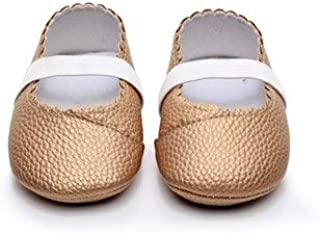 Baby Shoes 2 Pairs Floral Style Soft Sole PU Leather Princess Shoes, Shoe Size:12cm(Black) Baby Items (Color : Gold)