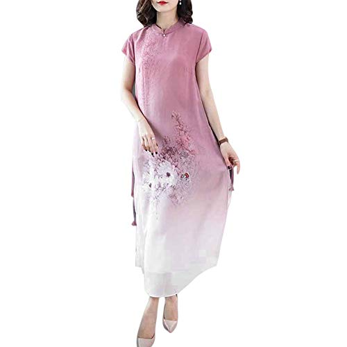 Huaheng Plus Size Vrouwen Jurk Zijde Print Korte Mouwen Lange Cheongsam Chinese Stijl Party Jurk L Rood