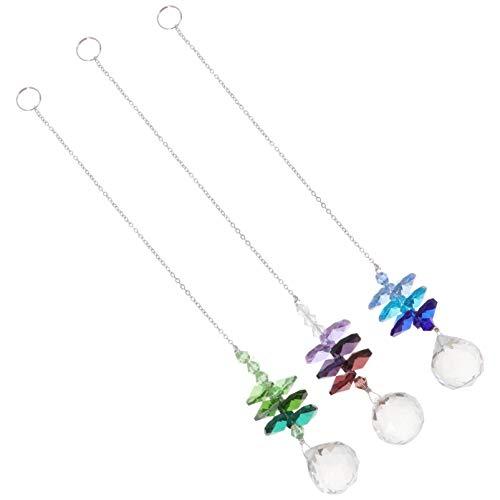 Yardwe - 3 colgantes de cristal para colgar en forma de prismas de cristal, para decoración del coche, color mezclado