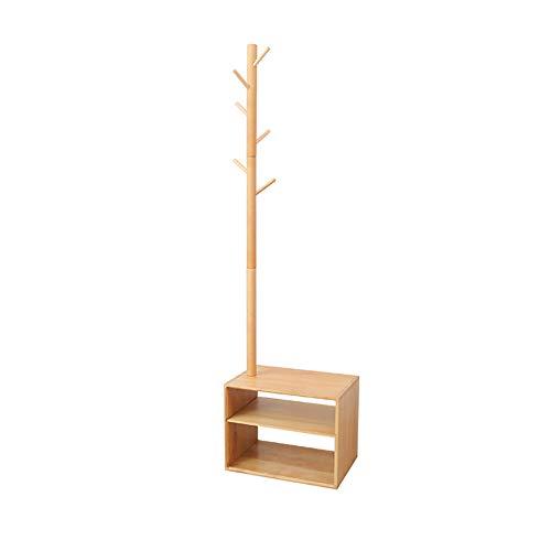 WZLJW Estante multifuncional para sala de estar, dormitorio, piso, perchas, zapatero para ropa, estante de madera maciza, paquete, sombrero, madera, 166 x 45 cm