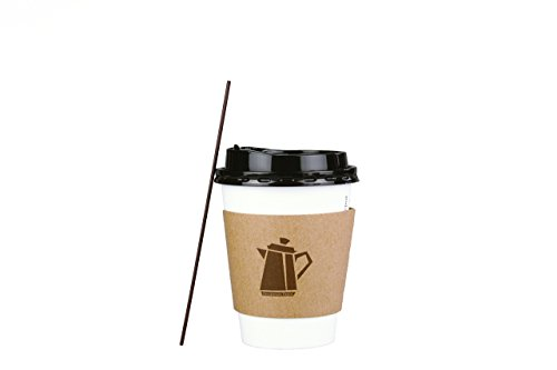 100 Pack - 12 Oz Disposable Coffee Cups with Lids, Sleeves & Stirrer Great for Hot Beverages in Home, Office, Coffee Shop, School, Family Reunions Complete Set, Snap fit Lids & No Leaks