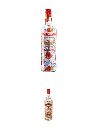 Rushkinoff Vodka & STRAWBERRY 1,0 Liter + Rushkinoff Vodka & Caramel 1,0 Liter