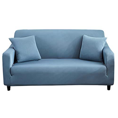 GELing Elastisch Sofa Überwürfe Sofabezug Stretch Antirutsch Armlehnen Sofahusse Sofa Abdeckung Blau 2 Sitzer(150-185CM)