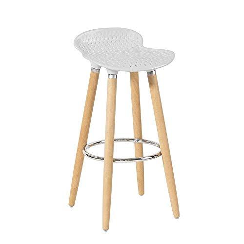 DNSJB Barkruk Retro Dining Chair Moderne minimalistische barkrukken geschikt voor bar café restaurant keuken ontbijt barkruk, ABS-kunststof zitting van houten poten wit