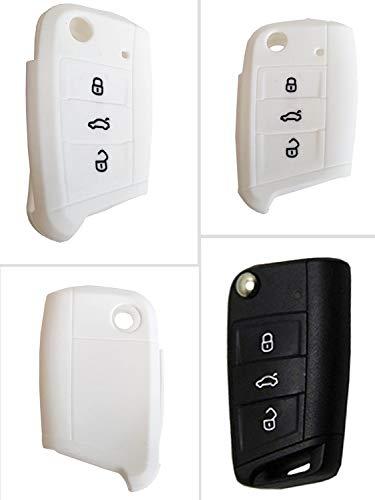 CK+ VW Auto-Schlüssel Hülle Key Cover Case Etui Silikon für Polo Golf 7 Variant Touran - Weiß
