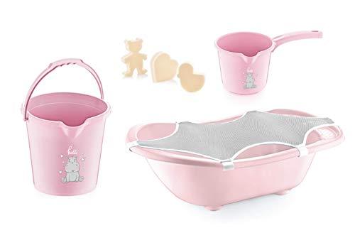 Babyjem Babywannenset für Neugeborene mit 5 Teilen, Baby Badewanne, Baby Bath Set Badezimmer Eimer, Badnetz, Rosa