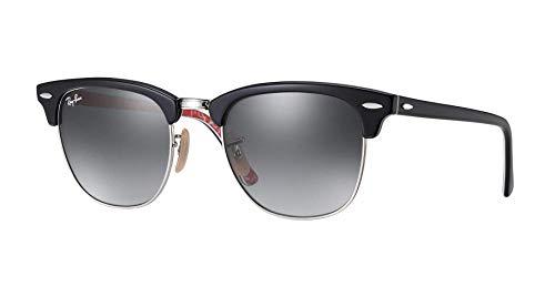 Ray-Ban Unisex-Erwachsene Clubmaster Sonnenbrille, Schwarz (Black/red), 49