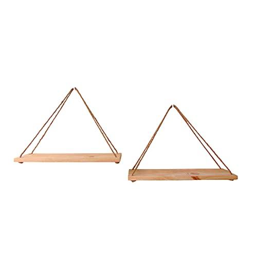 Baldas flotantes. Estanterías de madera y cuerda para decoración del hogar. Pack de 2 estantes colgantes de madera de pino natural. Estanterías de madera triangulares de pared.