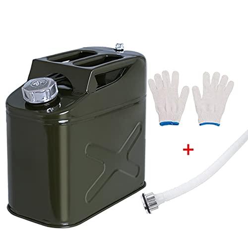 WWJZXC Gasolina Diesel Lata de Gasolina Tanque de repostaje portátil Tanque de Combustible de Metal para Trabajo Pesado con tubería Invertida Tanque de Gasolina Engrosado (1.3/2.6 Galones)