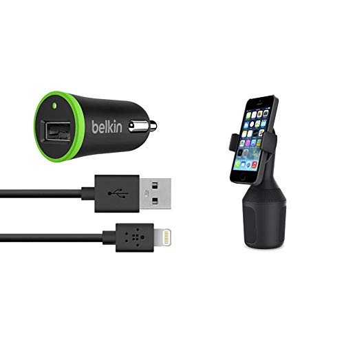 Belkin 3.4 A Lightning Car, Fast Phone Charger with USB for iPhone 11, 11 Pro/Pro Max, iPhone 6/6s/6 Plus and iPad MFI Approved 40 Percent Faster Charging, Black & Car Cup Mount for Smartphones