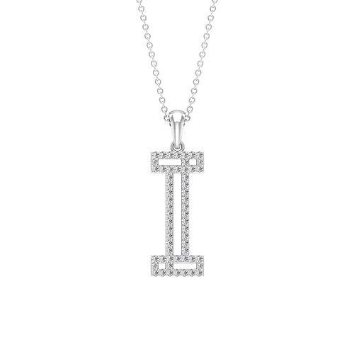 I Alphabet Initiale Halskette, HI-SI 0,35 ct Diamant Name Buchstabe Halskette, personalisierter Braut-Anhänger, zierlicher Statement-Anhänger, Arbeitskleidung Halskette, 14K Weißes Gold Ohne Kette