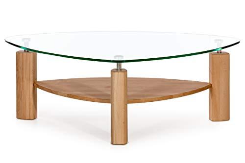 Amazon Marke -Alkove - Hayes - Moderner Couchtisch aus Massivholz mit Glasplatte, Kernbuche