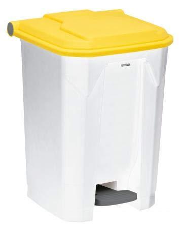 Poubelle à pédale Utilo - 50l - blanc/jaune