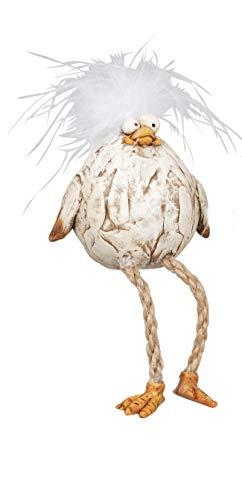 dekojohnson lustige Deko-Vogel Deko-Huhn Funny Bird mit Kunst-Federn Tischdeko Osterdeko Kantensitzer-Figur beige stehend 13cm Osterfest Tierfigur