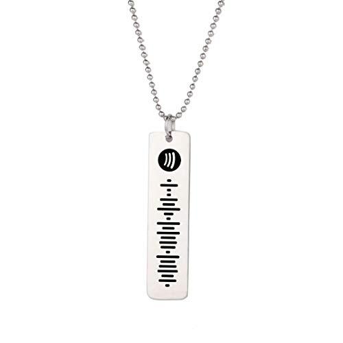 Música personalizada Spotify Code Bar Colgante Collar Mujeres Acero inoxidable Nombre personalizado Grabado Spotify Código Collar Joyería Regalo de cumpleaños