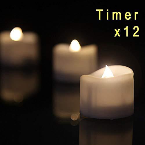 12 LED-kaarsen, kerstkaarsen lichtketting, Kerstmis kaarsen draadloos, kaarslicht vlamloze kerstkaarsen voor kerstboom, kerstdecoratie, bruiloft, feest