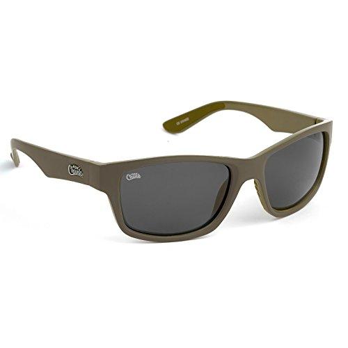 FOX Chunk Sunglasses - Polarisationsbrille zum Angeln, Angelbrille, Sonnenbrille zum Karpfenangeln, Polbrille zum Spinnfischen, Modell:Khaki Rahmen/Graue Gläser