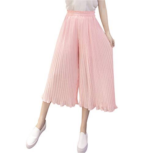 Zarupeng Damen Chiffon Plissee-Hose Elegante Hohe Taillen Stretch Leggings Freizeithose Einfarbig Baggy Weitem Bein Strandhose Cropped Hosen