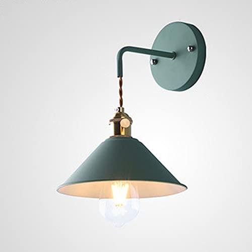 LXHK Lámpara de Pared Vintage Retro de Diseño Industrial, Apliques Pared Interior con Interruptor, Lampara de Lectura Pared de Led Flexible Colgante, Lámpara de Cabecera de Pantalla de Metal,Verde