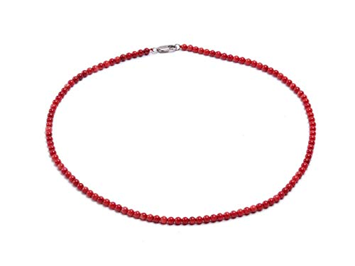 JYX Coral Necklace for Women 4mm Red Round Tiny Coral Beads Single-strand Necklace 17.5'