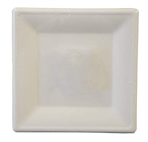 Depory Pappteller/Einwegteller eckig Pure (50 Stück) 26 x 26 cm Innenmaß 16 x 16 cm aus Zuckerrohr für Einweggeschirr ökologisch weiß