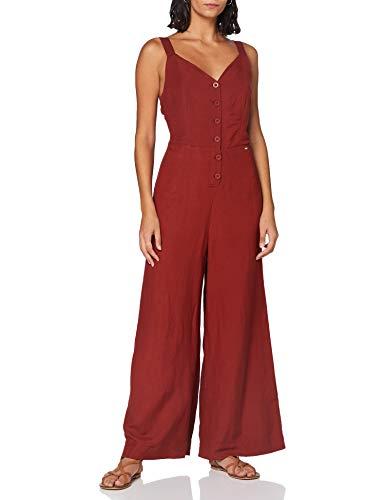 Superdry Damen Eden Linen Jumpsuit, Rot (Rosewood 1SB), XL (Herstellergröße:16)