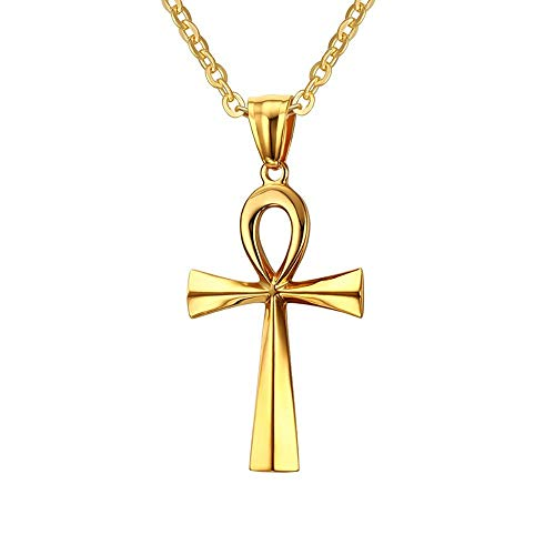 BOBIJOO Jewelry - Hanger Ketting Man Vrouw Kruis van het Leven, Ankh Egyptische Staal Goud + Ketting
