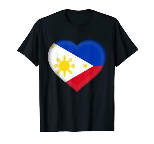 Amo Filipinas   Disfraz de corazn con bandera filipina Camiseta