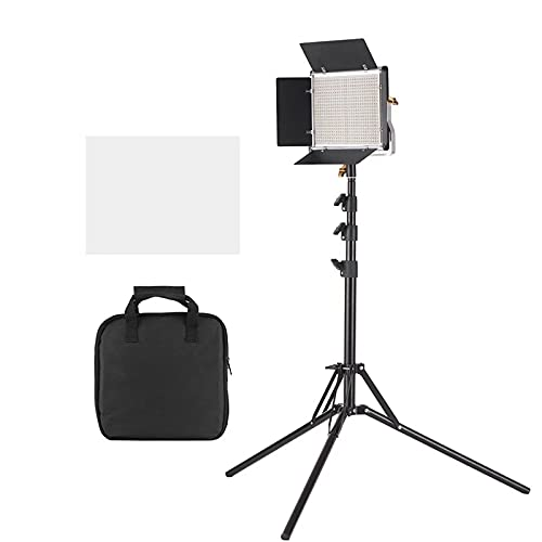 Luz de Video LED LED Video Light DIMMABLE 660 LED Bombillas Luz De Bi-Color Panel con Soporte U & Barndoor Portátil y Multifuncional (Color : Black, Size : One Size)