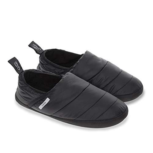 Qeedo Cozys, warme Hausschuhe für Damen und Herren, Hüttenschuhe, Gr. L, schwarz