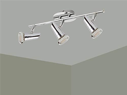 Trango 3-flammig 2001-038-5W LED Deckenleuchte *MAX* inkl. 3x 5 Watt GU10 LED Leuchtmittel in Chrom-Optik I Deckenlampe I Deckenstrahler I Deckenspots I Wohnzimmer Lampe schwenkbar und drehbar