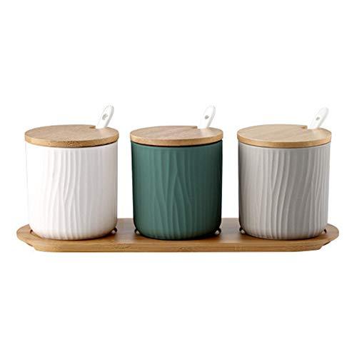 OnePine 3er Set DREI Farben Keramik Gewürzdosen Zuckerdose Keramik Zucker Schüssel mit Löffel und Bambus Deckel für Tee Zucker Salz Gewürze Bei Zuhause und Küche