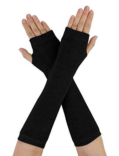 Allegra K Unisex Classic Stretch Fingerless Arm Warmmer Oversleeve Black
