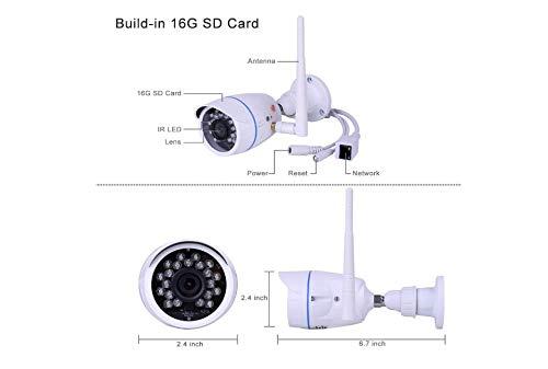 Cámaras de Vigilancia Exterior, 720P Cámara IP WIFI Exterior Impermeable IP66 Puede Grabar en Bucle, Alarma Remota Detección Movimiento Compatible con iOS y Android con Incorporado La Tarjeta16G SD