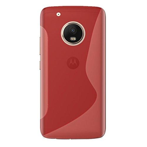 EASYPLACE S-Line Custodia Protettiva Morbida in Silicone e TPU per Moto G5+, Rosso