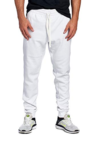 ProGo Men's Casual Jogger Sweatpants Basic Fleece Marled Jogger Pant Elastic Waist (Medium, White)