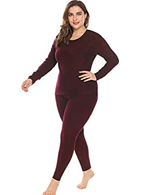 IN'VOLAND Women's Plus Size Thermal Underwear Fleece Lined Long Johns Set Winter Top&Pants Pajama Wine Red