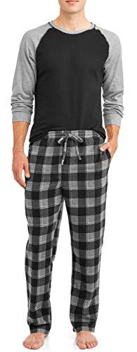 Hanes Mens Adult Xtemp Long Sleeve Crew Shirt & Fleece Plaid Pant Pajamas PJ Set, Black/Grey Plaid, Small
